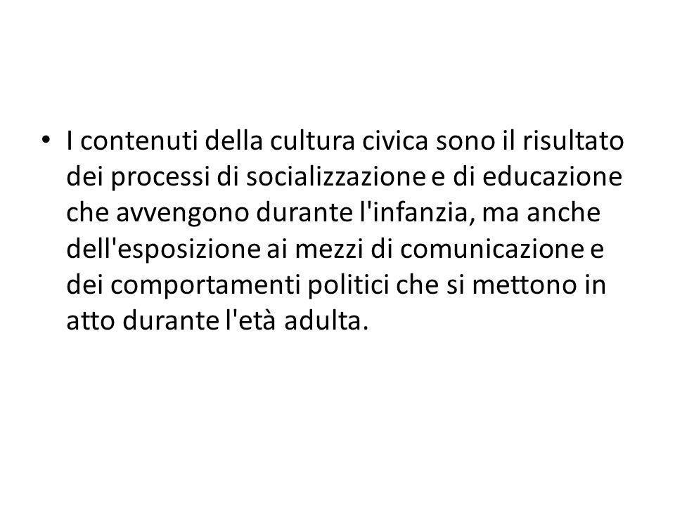 I contenuti della cultura civica sono il risultato dei processi di socializzazione e di educazione che avvengono durante l infanzia, ma anche dell esposizione ai mezzi di comunicazione e dei comportamenti politici che si mettono in atto durante l età adulta.