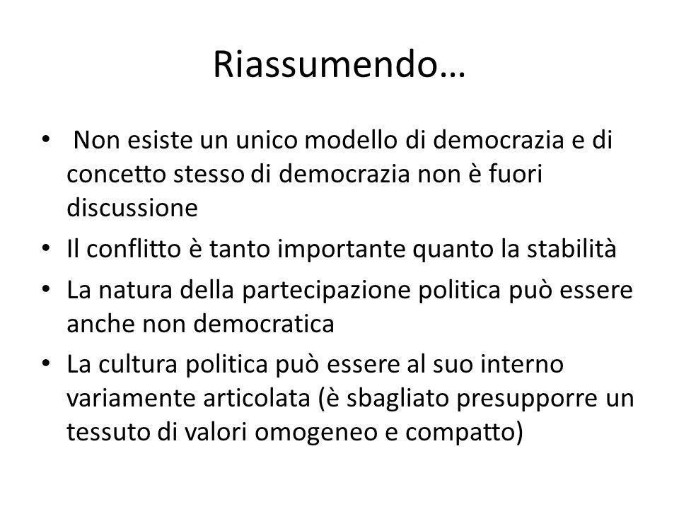 Riassumendo… Non esiste un unico modello di democrazia e di concetto stesso di democrazia non è fuori discussione.