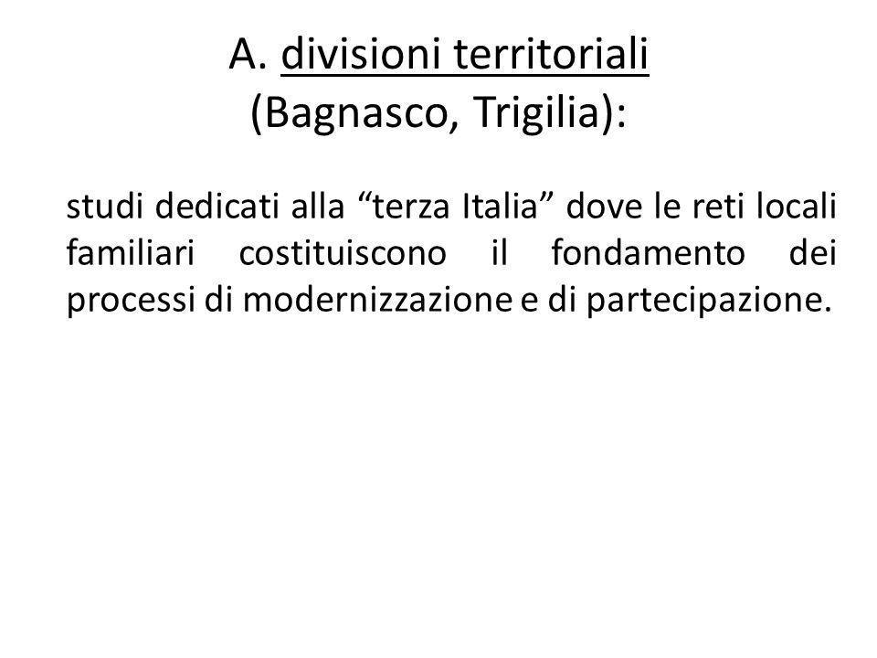 A. divisioni territoriali (Bagnasco, Trigilia):