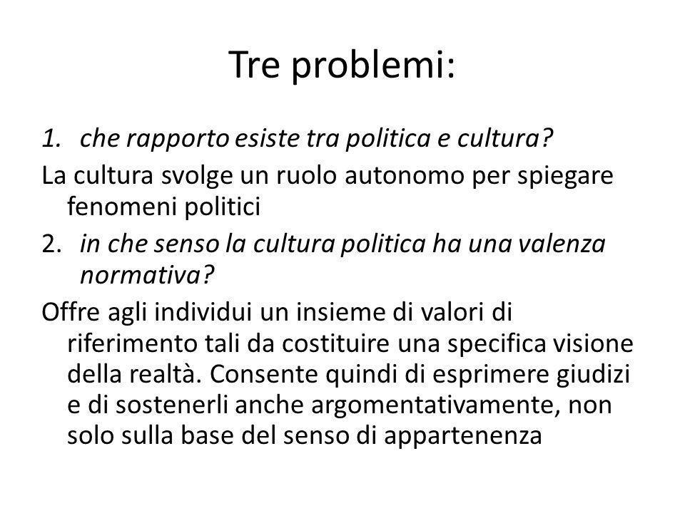 Tre problemi: che rapporto esiste tra politica e cultura
