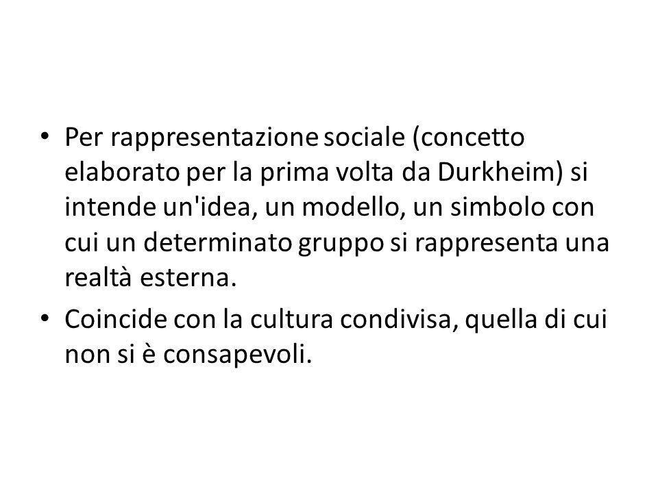 Per rappresentazione sociale (concetto elaborato per la prima volta da Durkheim) si intende un idea, un modello, un simbolo con cui un determinato gruppo si rappresenta una realtà esterna.