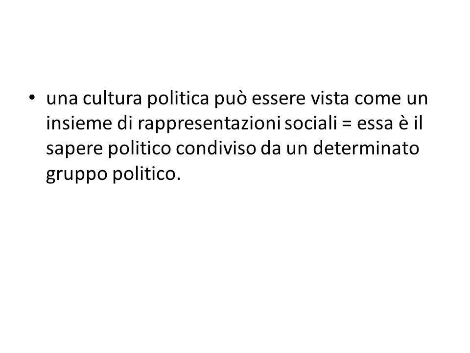 una cultura politica può essere vista come un insieme di rappresentazioni sociali = essa è il sapere politico condiviso da un determinato gruppo politico.