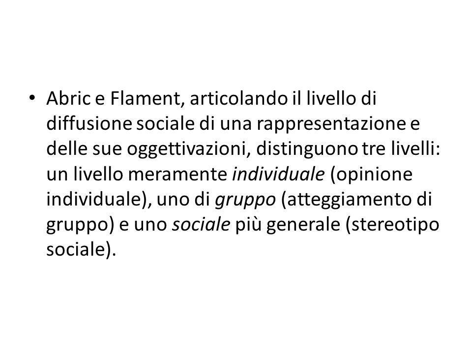 Abric e Flament, articolando il livello di diffusione sociale di una rappresentazione e delle sue oggettivazioni, distinguono tre livelli: un livello meramente individuale (opinione individuale), uno di gruppo (atteggiamento di gruppo) e uno sociale più generale (stereotipo sociale).