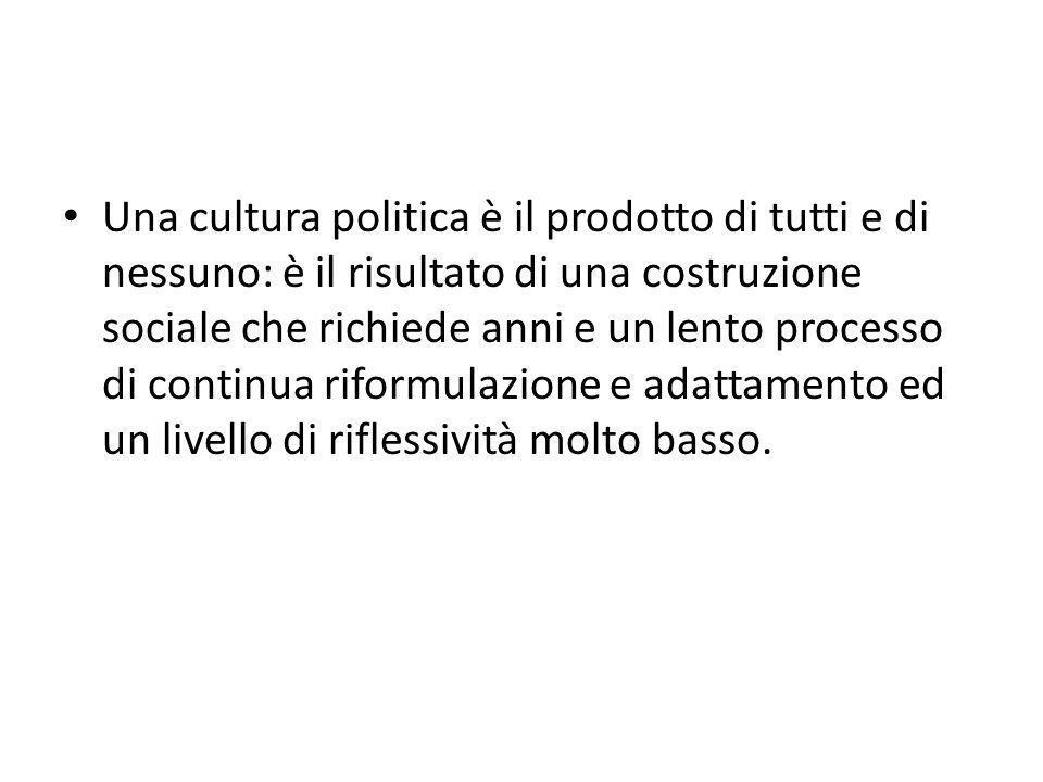 Una cultura politica è il prodotto di tutti e di nessuno: è il risultato di una costruzione sociale che richiede anni e un lento processo di continua riformulazione e adattamento ed un livello di riflessività molto basso.