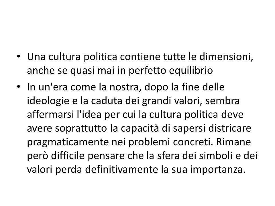 Una cultura politica contiene tutte le dimensioni, anche se quasi mai in perfetto equilibrio