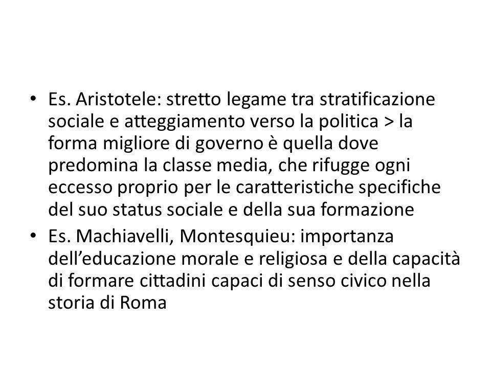 Es. Aristotele: stretto legame tra stratificazione sociale e atteggiamento verso la politica > la forma migliore di governo è quella dove predomina la classe media, che rifugge ogni eccesso proprio per le caratteristiche specifiche del suo status sociale e della sua formazione