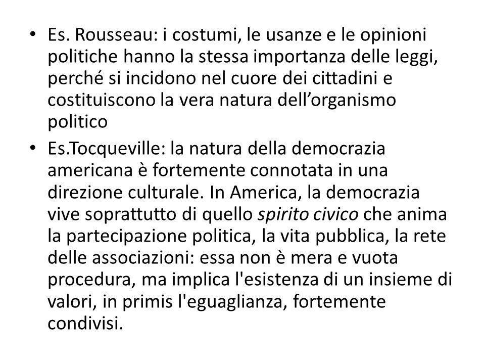 Es. Rousseau: i costumi, le usanze e le opinioni politiche hanno la stessa importanza delle leggi, perché si incidono nel cuore dei cittadini e costituiscono la vera natura dell'organismo politico