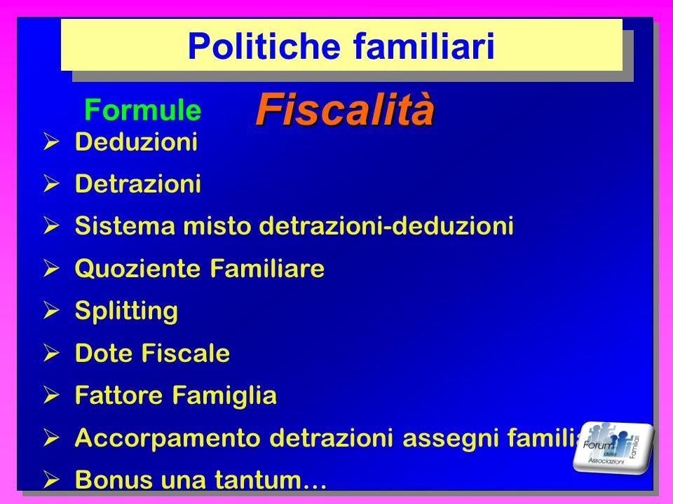Fiscalità Politiche familiari Formule Deduzioni Detrazioni