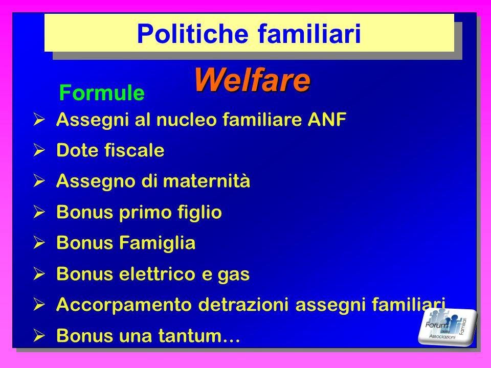 Welfare Politiche familiari Formule Assegni al nucleo familiare ANF