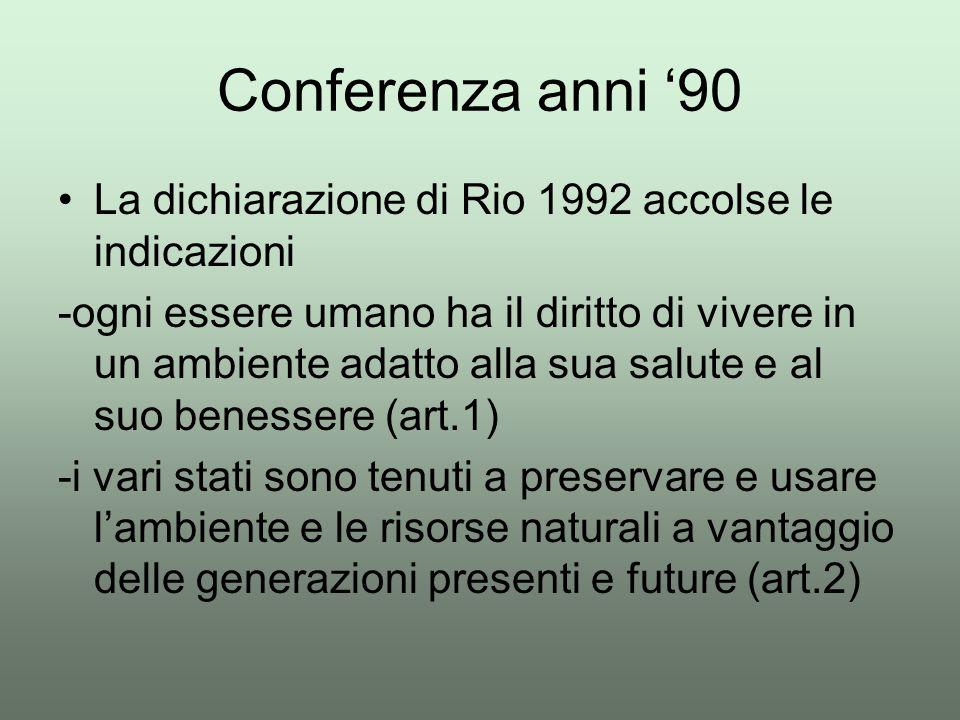 Conferenza anni '90 La dichiarazione di Rio 1992 accolse le indicazioni.