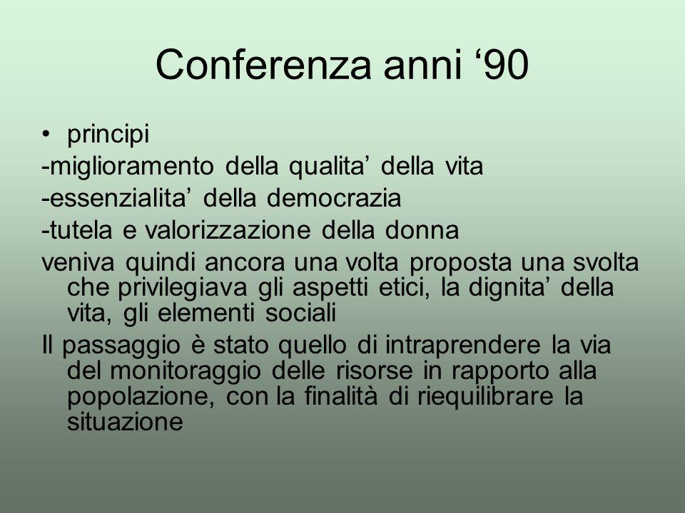 Conferenza anni '90 principi -miglioramento della qualita' della vita