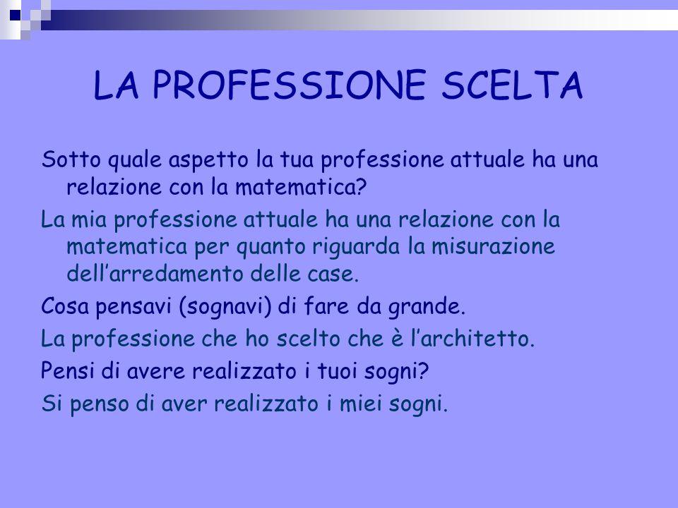 LA PROFESSIONE SCELTA Sotto quale aspetto la tua professione attuale ha una relazione con la matematica
