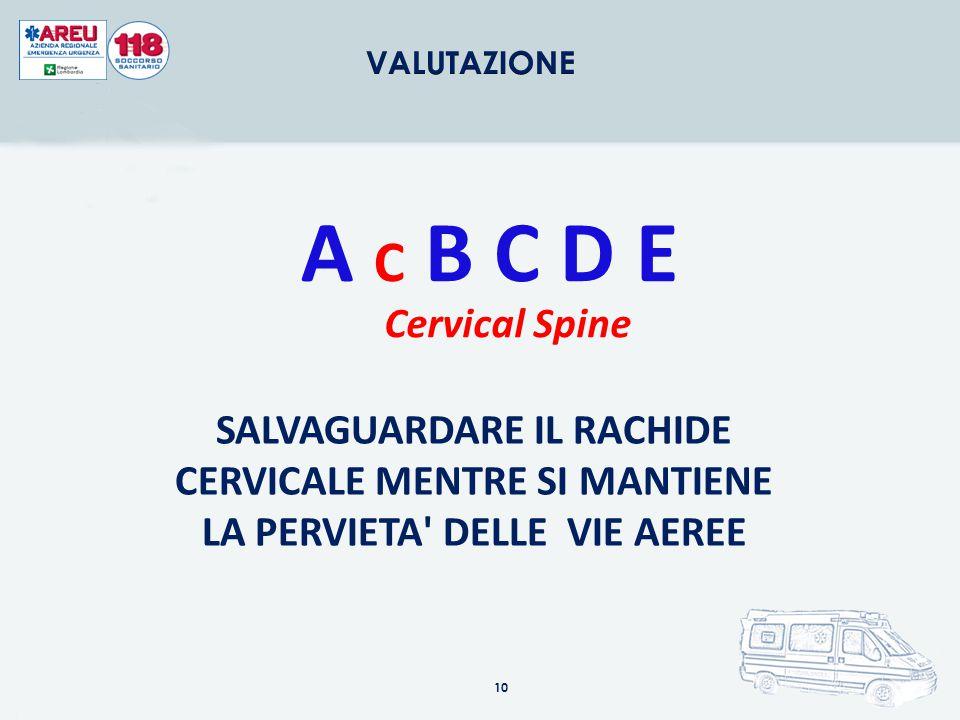 VALUTAZIONE A C B C D E. Cervical Spine.