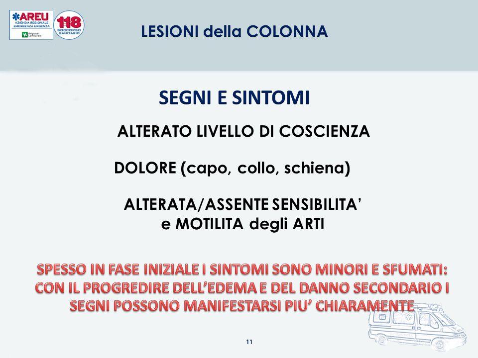 SEGNI E SINTOMI ALTERATO LIVELLO DI COSCIENZA