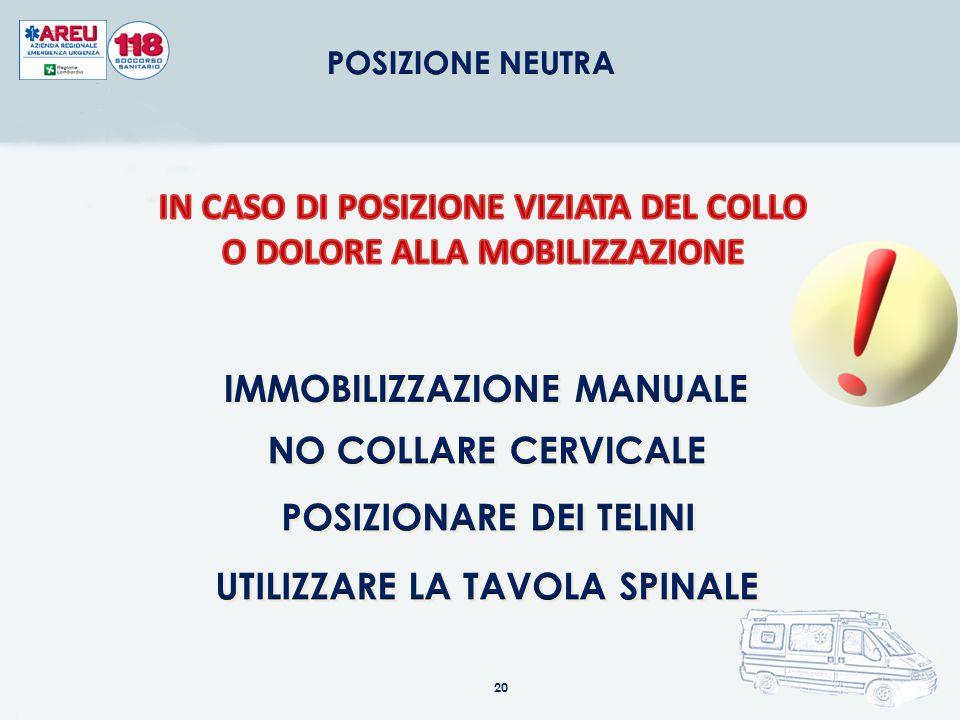 IN CASO DI POSIZIONE VIZIATA DEL COLLO O DOLORE ALLA MOBILIZZAZIONE