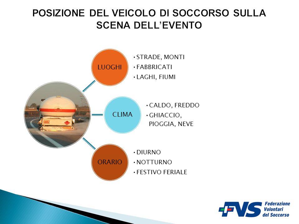 POSIZIONE DEL VEICOLO DI SOCCORSO SULLA SCENA DELL'EVENTO