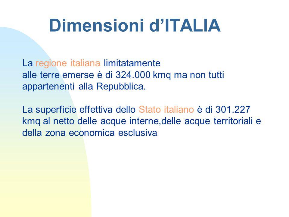 Dimensioni d'ITALIA La regione italiana limitatamente