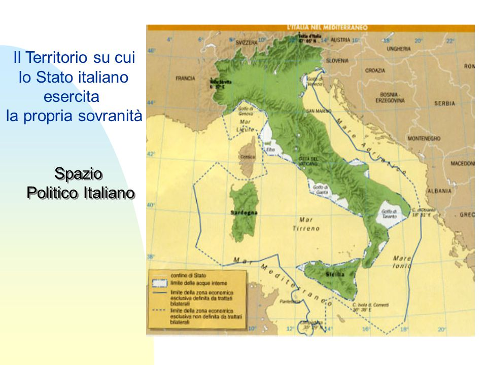 Il Territorio su cui lo Stato italiano esercita la propria sovranità Spazio Politico Italiano