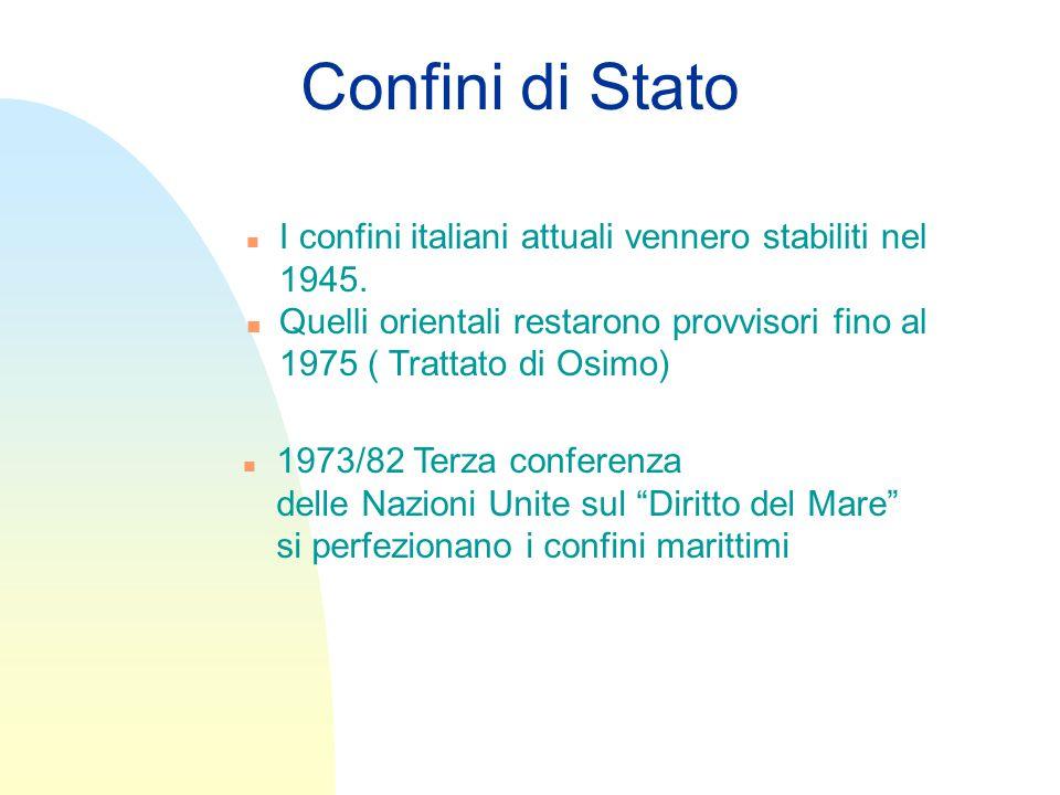 Confini di Stato I confini italiani attuali vennero stabiliti nel 1945. Quelli orientali restarono provvisori fino al 1975 ( Trattato di Osimo)