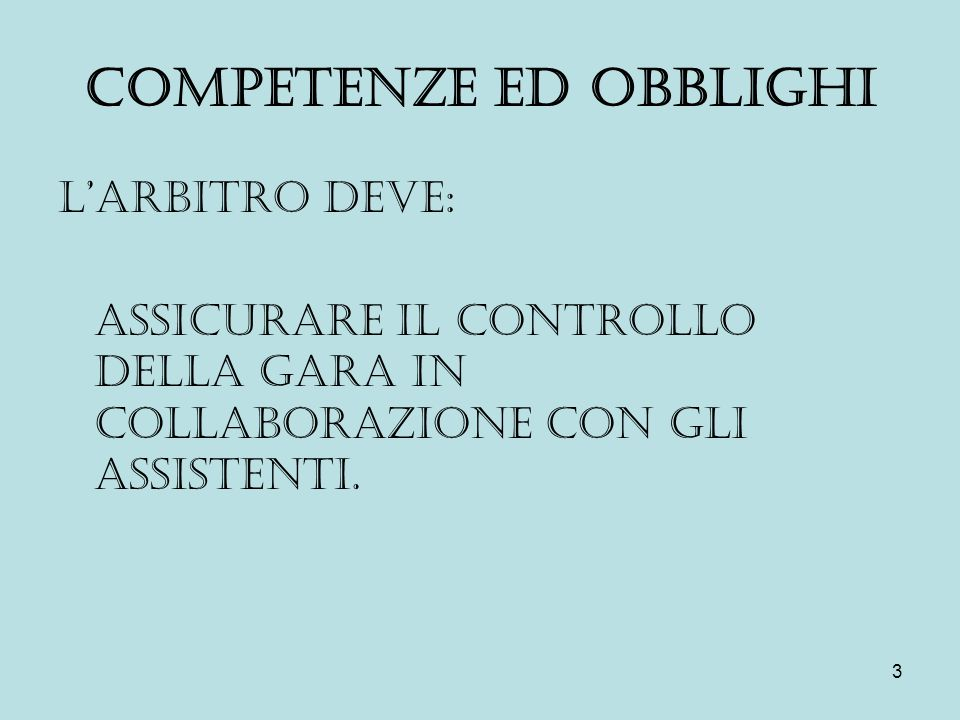 COMPETENZE ED OBBLIGHI