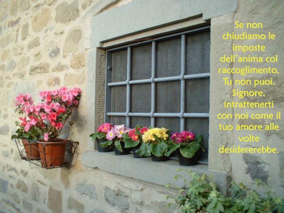 Se non chiudiamo le imposte dell'anima col raccoglimento, Tu non puoi, Signore, intrattenerti con noi come il tuo amore alle volte desidererebbe.