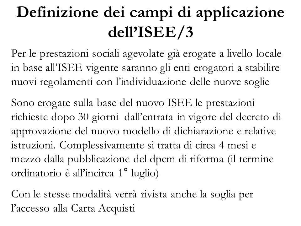 Definizione dei campi di applicazione dell'ISEE/3