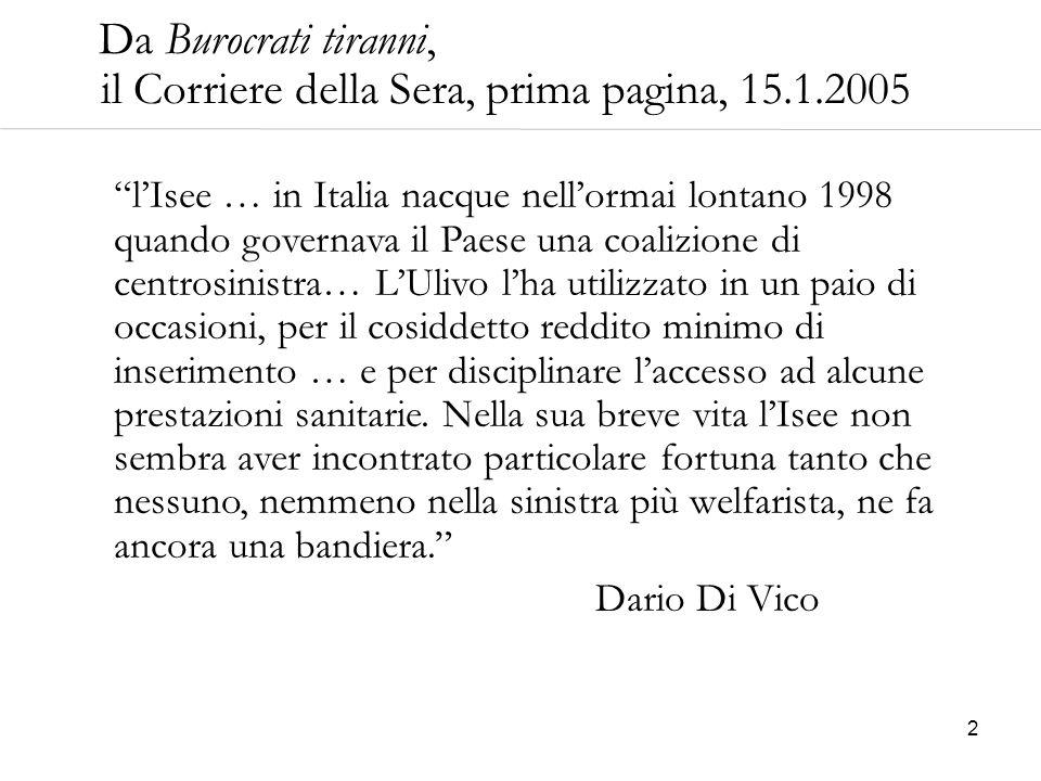 Da Burocrati tiranni, il Corriere della Sera, prima pagina, 15.1.2005