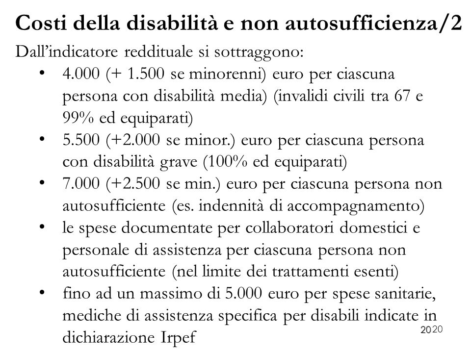 Costi della disabilità e non autosufficienza/2
