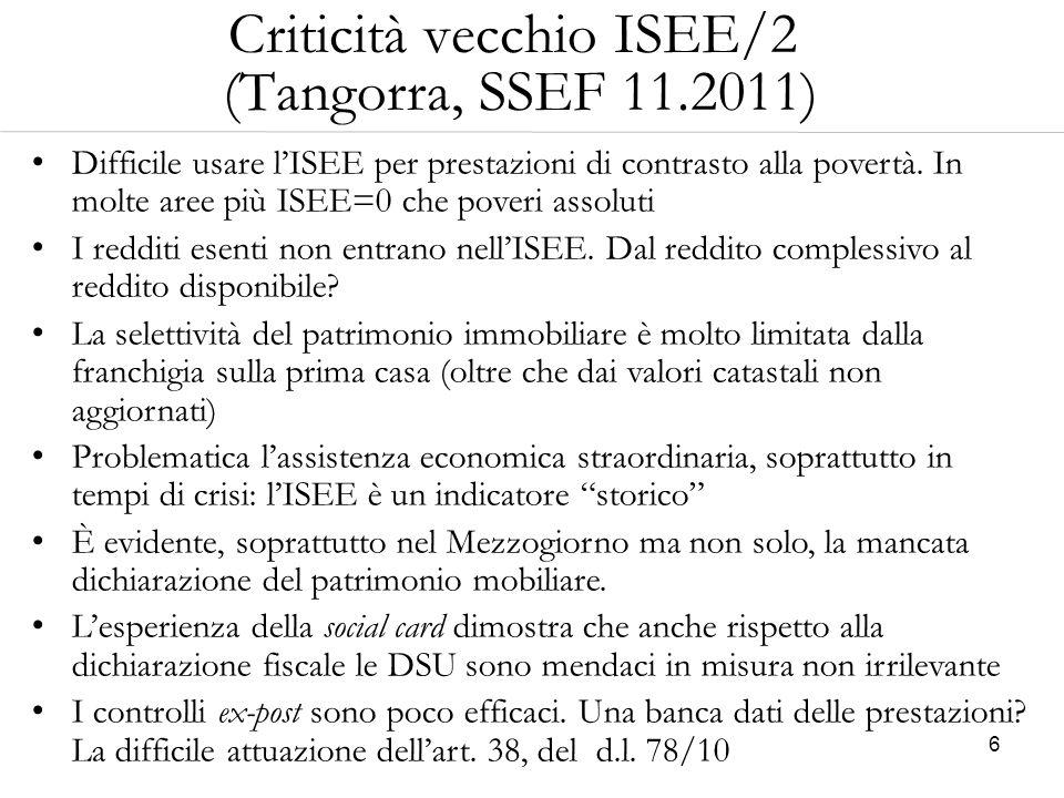 Criticità vecchio ISEE/2 (Tangorra, SSEF 11.2011)