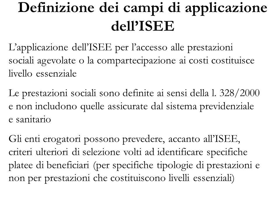Definizione dei campi di applicazione dell'ISEE