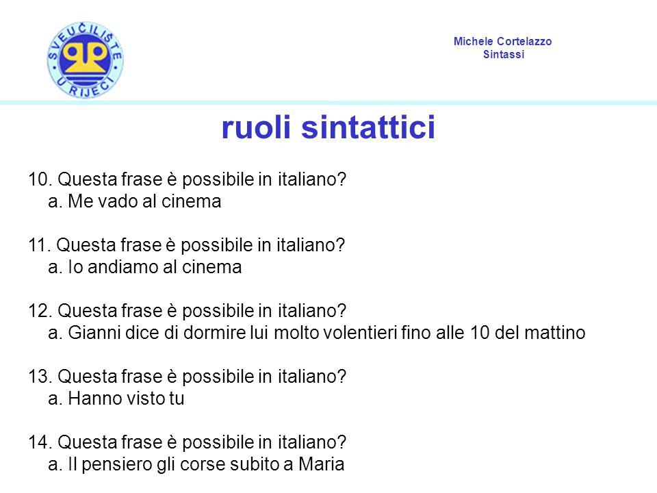 ruoli sintattici 10. Questa frase è possibile in italiano