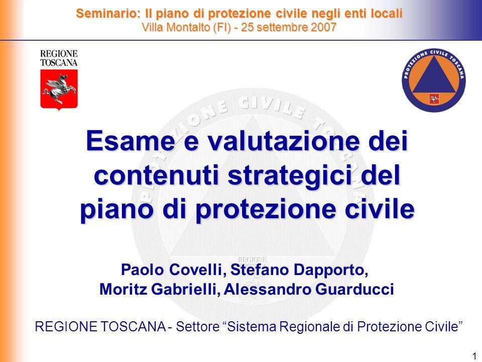 REGIONE TOSCANA - Settore Sistema Regionale di Protezione Civile