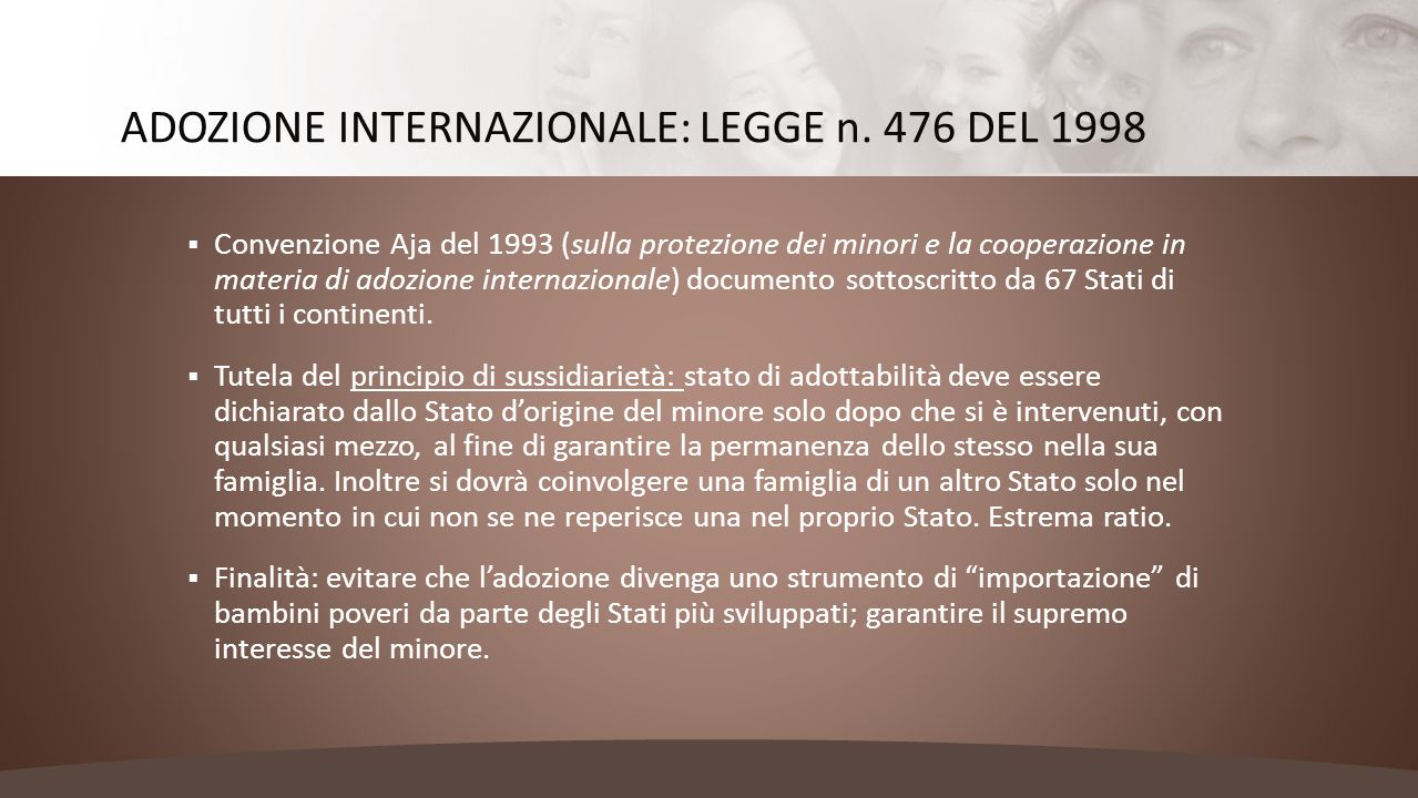 ADOZIONE INTERNAZIONALE: LEGGE n. 476 DEL 1998