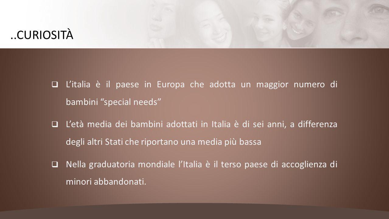 ..curiosità L'italia è il paese in Europa che adotta un maggior numero di bambini special needs