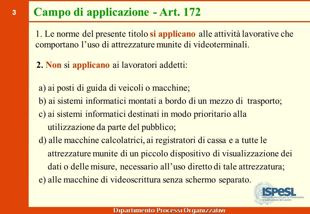 Definizioni - Art.173 Videoterminale: uno schermo alfanumerico o grafico a prescindere dal tipo di procedimento di visualizzazione utilizzato;