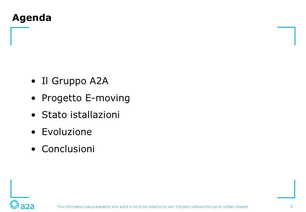 Agenda Il Gruppo A2A Progetto E-moving Stato istallazioni Evoluzione Conclusioni