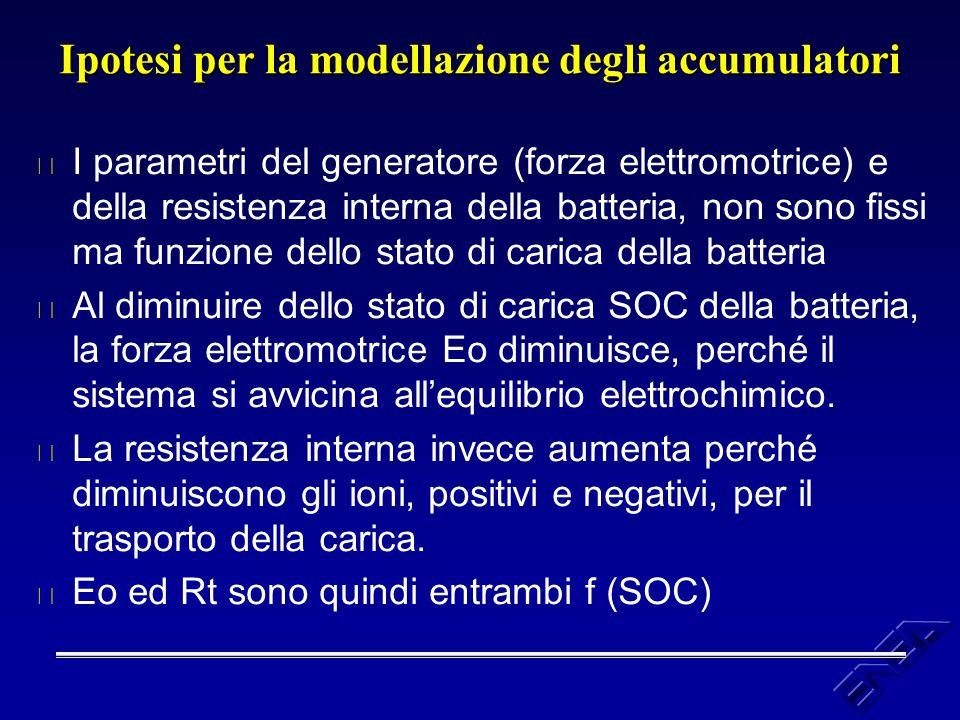 Ipotesi per la modellazione degli accumulatori