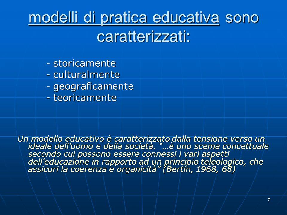 modelli di pratica educativa sono caratterizzati: