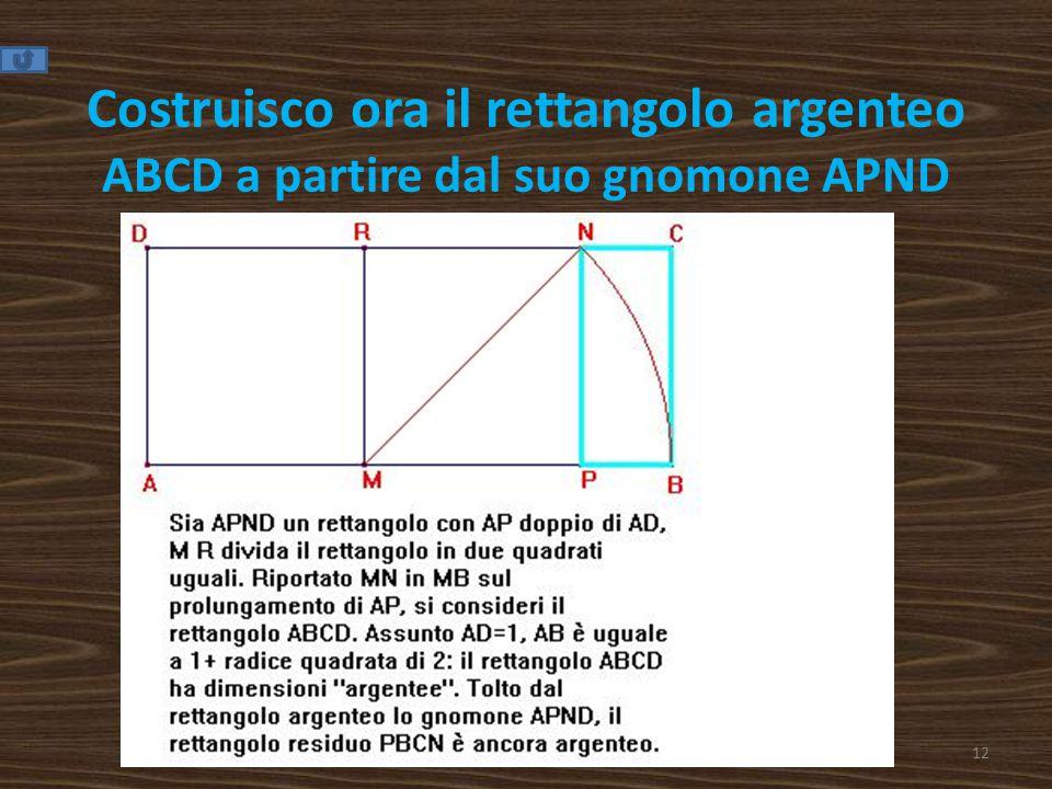 Costruisco ora il rettangolo argenteo ABCD a partire dal suo gnomone APND
