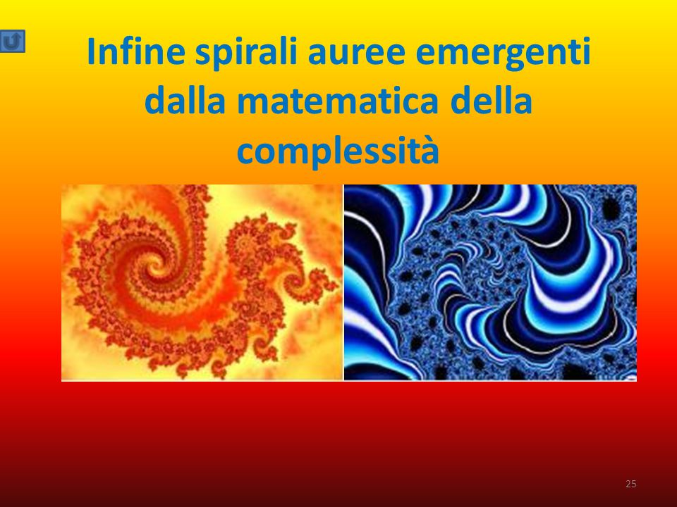 Infine spirali auree emergenti dalla matematica della complessità