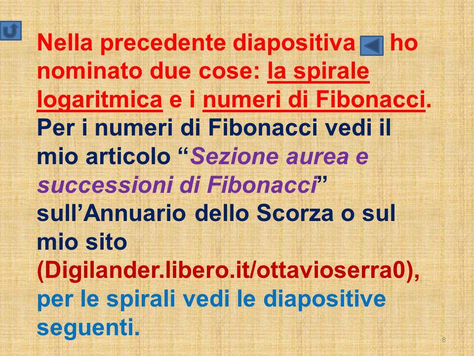Nella precedente diapositiva ho nominato due cose: la spirale logaritmica e i numeri di Fibonacci.