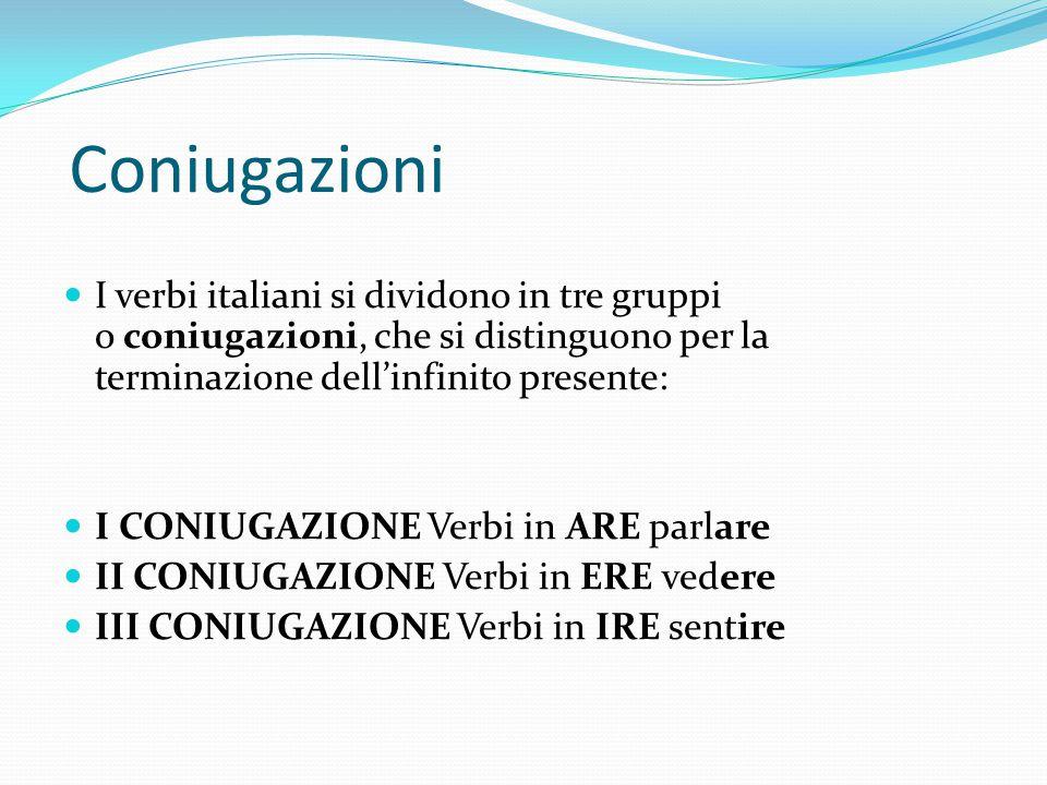 Coniugazioni I verbi italiani si dividono in tre gruppi o coniugazioni, che si distinguono per la terminazione dell'infinito presente: