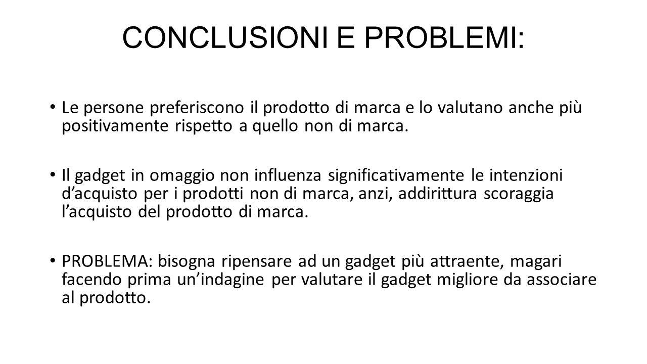 CONCLUSIONI E PROBLEMI:
