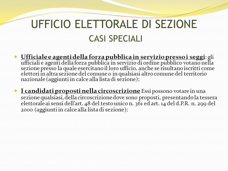 UFFICIO ELETTORALE DI SEZIONE CASI SPECIALI
