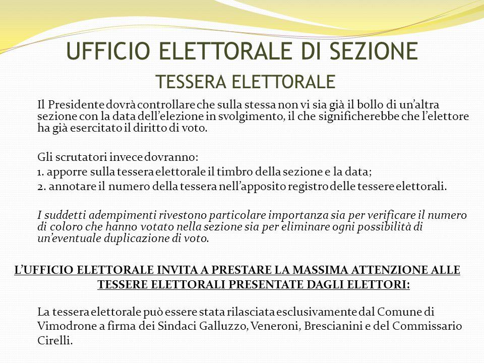 UFFICIO ELETTORALE DI SEZIONE TESSERA ELETTORALE