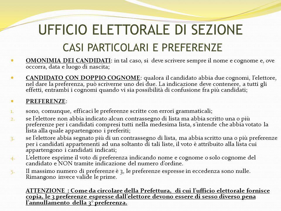 UFFICIO ELETTORALE DI SEZIONE CASI PARTICOLARI E PREFERENZE