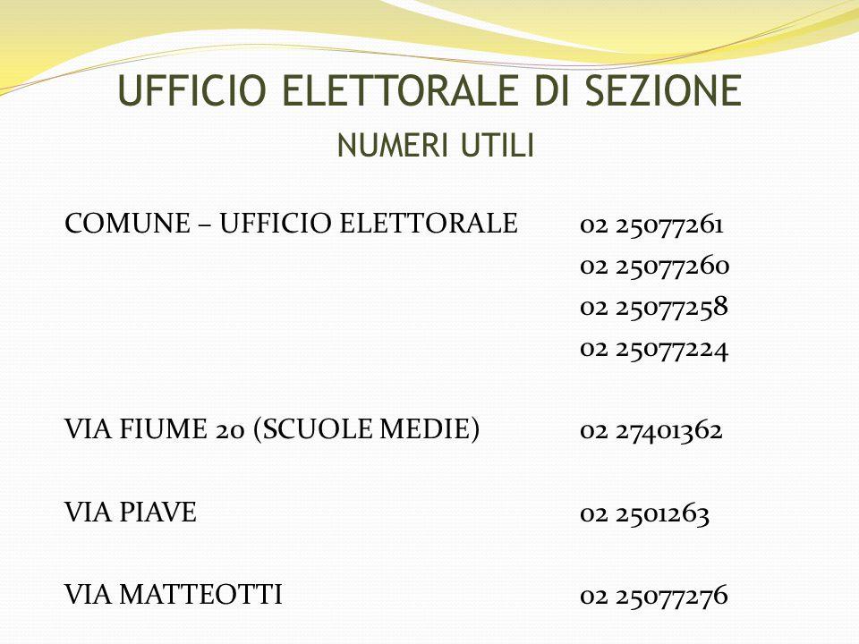 UFFICIO ELETTORALE DI SEZIONE NUMERI UTILI