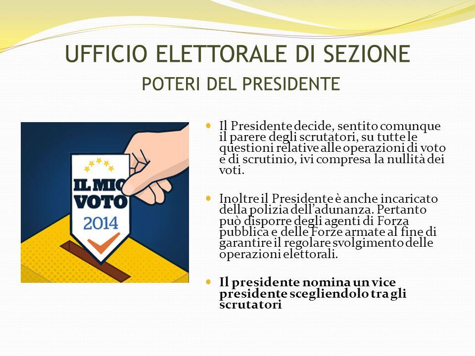UFFICIO ELETTORALE DI SEZIONE POTERI DEL PRESIDENTE