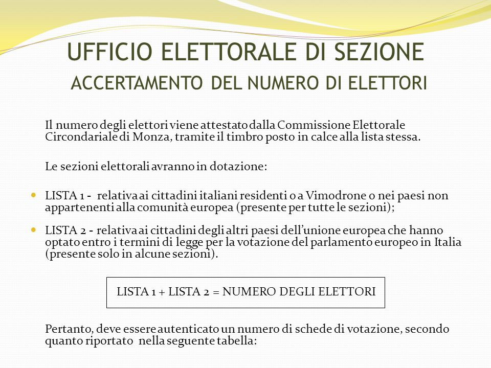 UFFICIO ELETTORALE DI SEZIONE ACCERTAMENTO DEL NUMERO DI ELETTORI