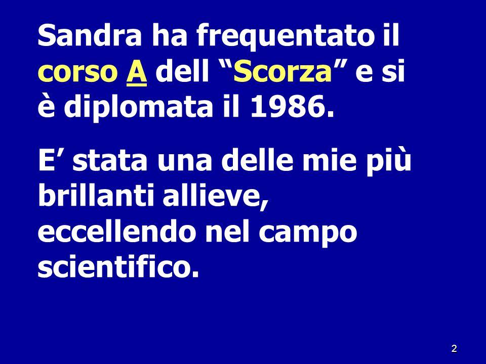 Sandra ha frequentato il corso A dell Scorza e si è diplomata il 1986.